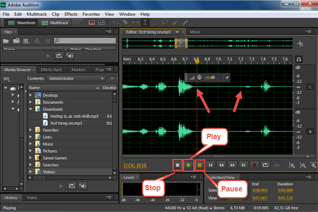 Loại bỏ tiếng ồn trong adobe audition